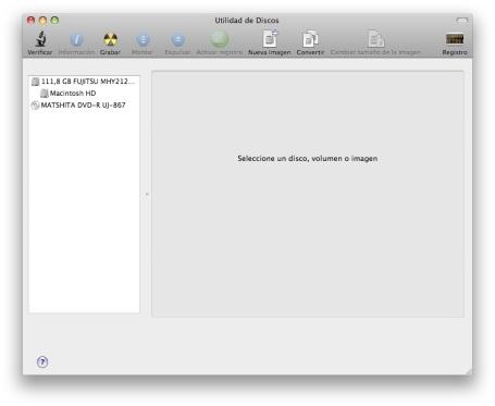 pantalla de bienvenida de la utilidad de discos