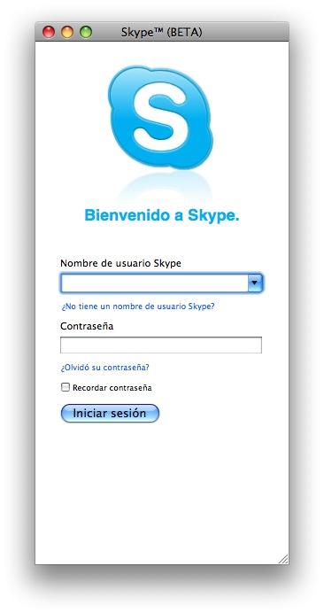 ventana de inicio de sesión de skype
