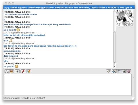 ventana de conversación en aMSN